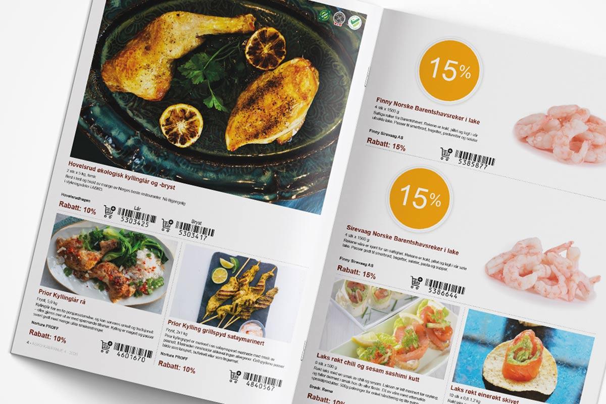 Oppslag av ASKO katalog med lekre matbilder