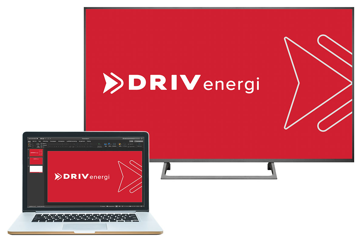 DRIV energi presentasjsonsmaler vises på PC og storskjerm