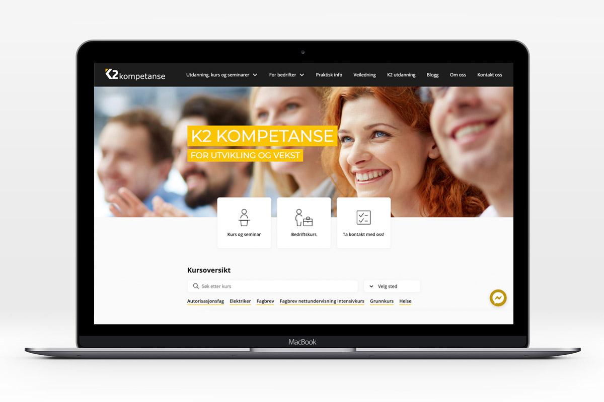 K2 kompetanse sin webside vises på en pc