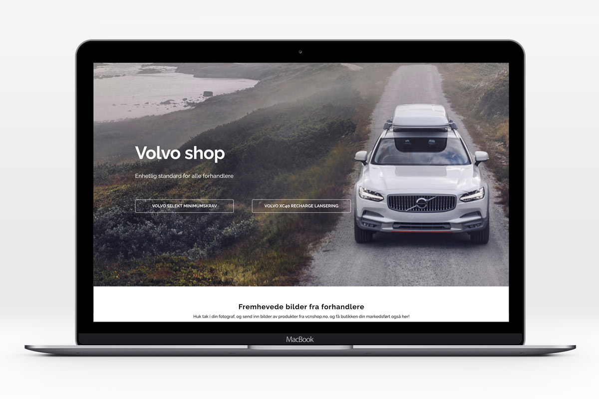 Volvo Car Norway webshop forsiden vises på en PC
