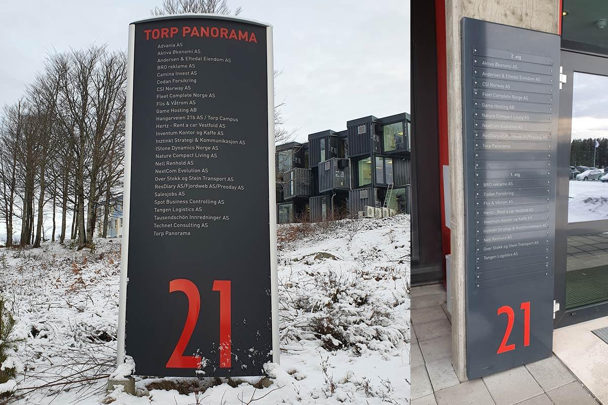 Torp Panorama skilt som viser alle bedrifter på bygget