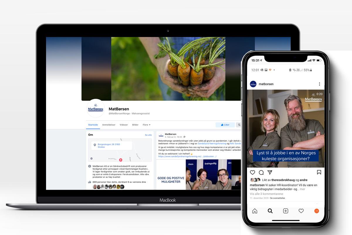 MatBørsen på Facebook og Instagram
