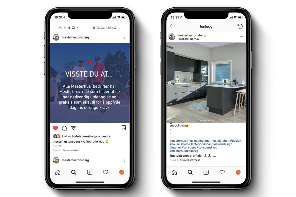 Mesterhus Tønsberg sin Instagramkonto vises på to mobiler