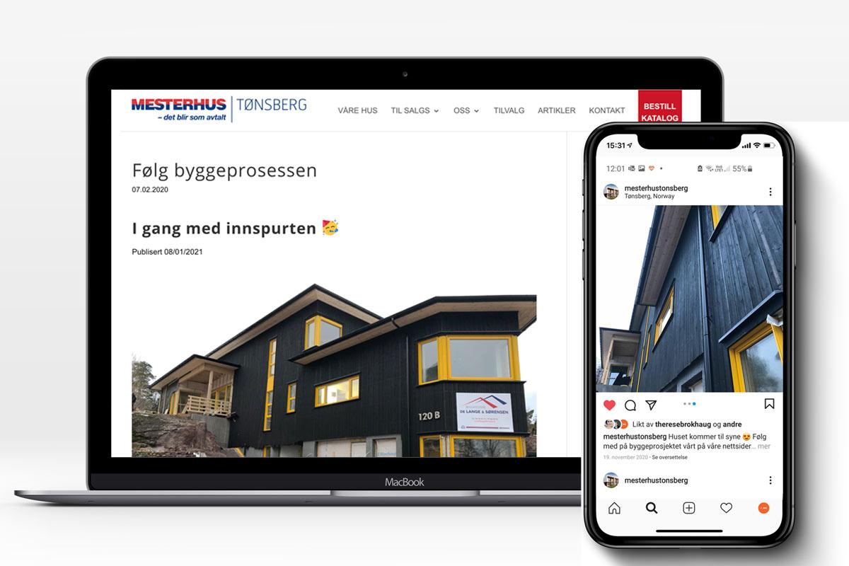 Mesterhus Tønsberg sin nettside og instagram konto vises på en PC og en mobil